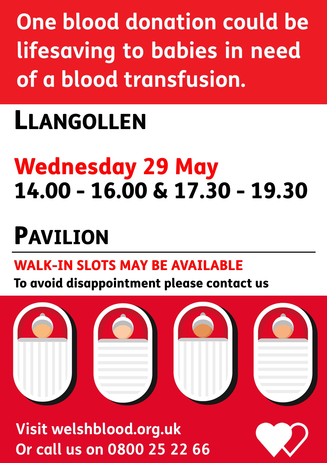 Give blood in Llangollen...